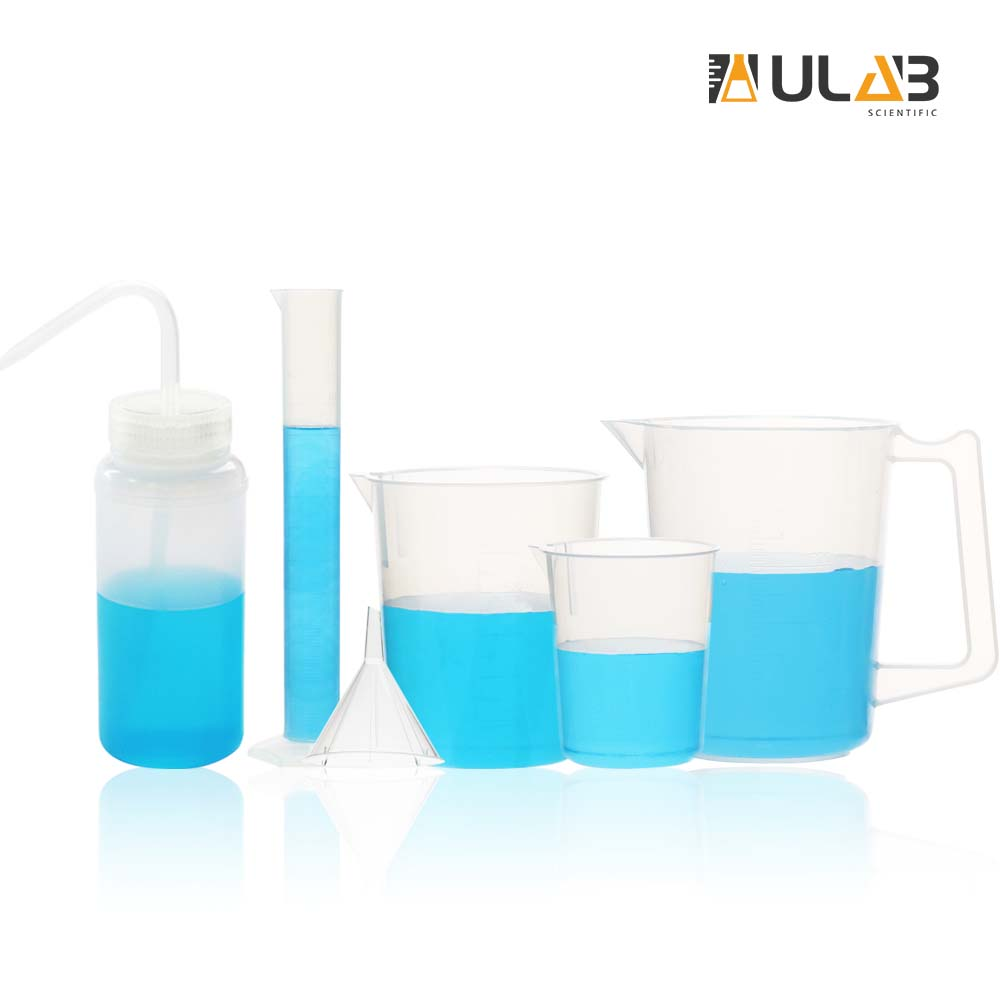 ULAB Scientific Experiment Kit, Plastic Beakers, Measuring Cylinder, Plastic Funnel and Wide-Mouth Wash Bottle, UBP1009