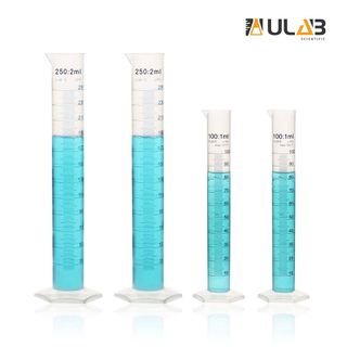 ULAB Scientific Plastic Measuring Cylinder Set, 2 Sizes 100ml 250ml 3.4oz 8.5oz, Polypropylene Material Hexagonal Base, Blue Printed Graduation, UMC1006