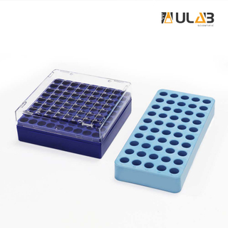 ULAB Scientific Cryo-Safe Freezing Box and Cryotube Workstation Rack Set, 81-Place Freezing Box, 50 Holes Cryotube Workstation Rack, UCP1002