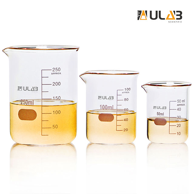 ULAB Scientific Glass Beaker Set, 3 Sizes 50ml 100ml 250ml, 3.3 Boro Griffin Low Form with Printed Graduation, UBG1001