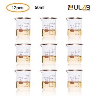 ULAB Scientific Glass Beakers Shot Glass, Vol. 50ml, 3.3 Borosilicate Griffin Low Form with Printed Graduation, Pack of 12, UBG1013