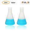 ULAB Scientific Conical Polypropylene Erlenmeyer Flask 17oz 500ml Narrow Neck Without Cap, Molded Graduations, Pack of 2, UEF1014