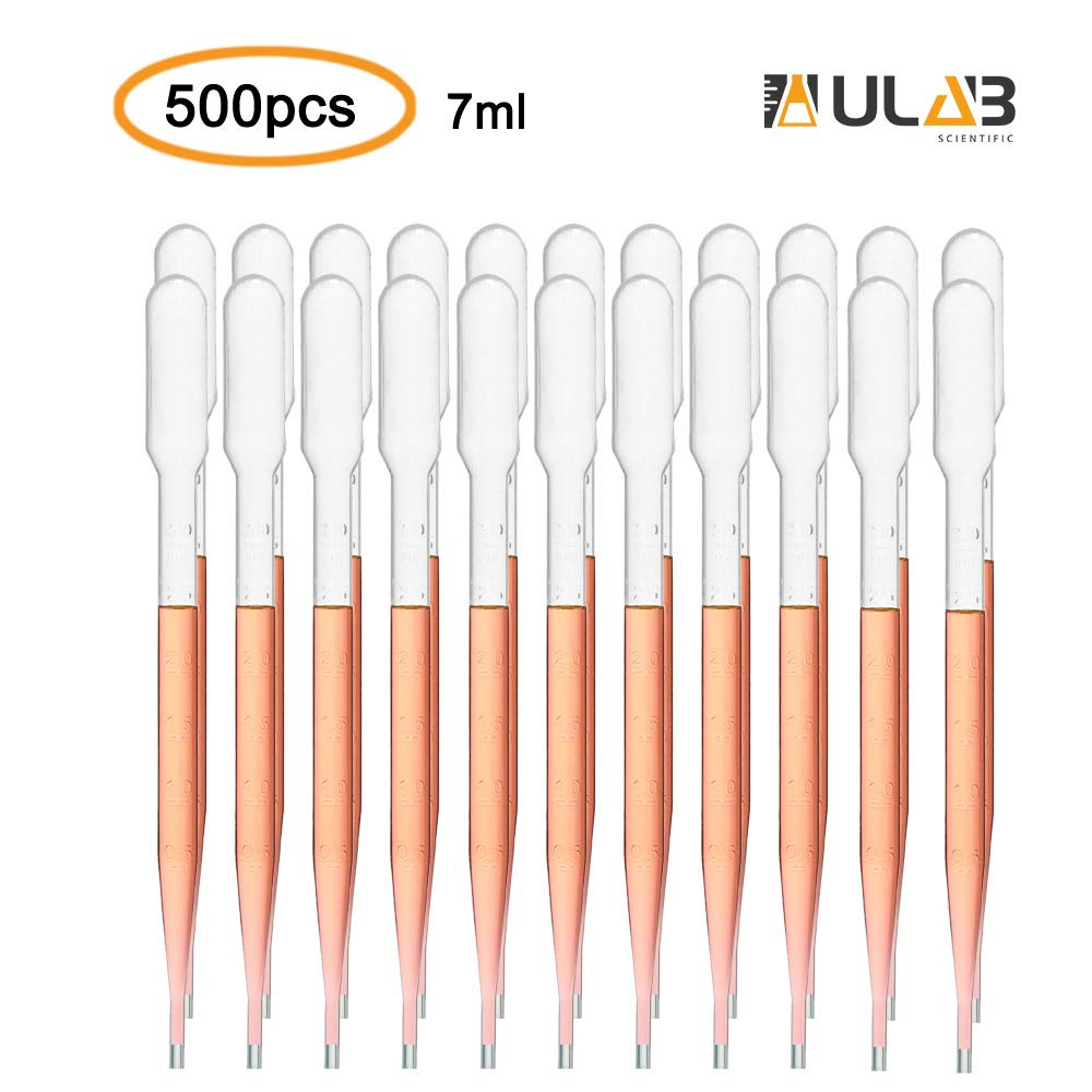 ULAB Scientific Transfer Pipette, Essential Oils Pipettes Vol. 7ml, 3ml Graduated, 0.5ml Graduation 155mm, LDPE 500pcs/box, UTP1001