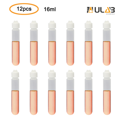 ULAB Scientific Autoclavable Heavy Duty Tubes with Leakproof Screw Caps, Can be Used as High Speed Centrifuge Tubes, Vol.16ml, 17.9x106.6mm, Polypropylene Material, Pack of 12, UCT1006