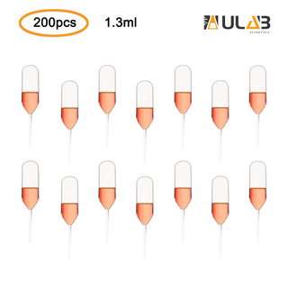 ULAB Scientific Transfer Pipettes, Essential Oils Pipettes Vol.1.3ml, 51mm Long, LDPE Material, 200pcs/bag, UTP1008