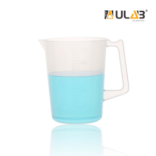 ULAB Handled Plastic Beaker, Vol. 2000ml, PP Material, with Spout and Molded Graduation, UBP1012