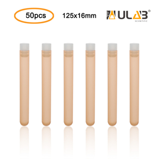 ULAB Plastic Test Tubes with Flange Stoppers, 50pcs of Dia.16x125mm Party Tubes, Orange Color, 50pcs PE Flange Stoppers, Dia.16mm, Nature Color, UTT1018